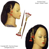 Hairsticks Red Party Beads by HasturCTS