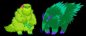 two green monsters by Grim-Amentia