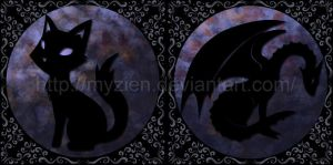 Updated Cat and Dragon Logos by Myzien