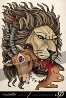 Lion Good Evil Tattoo by Sam-Phillips-NZ