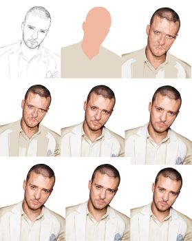 Steps of drawing portrait by Konsuello