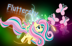 Rainbow Power - Fluttershy inside Abstract Neon by nhanminhle750