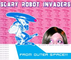 Scary Robot Invaders by selkie-x