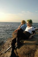 Zoro and Sanji at seaside 2 by momo1132