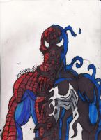 Spidey Morphing into the Black Suit by ChahlesXavier