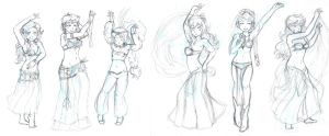 Dancers Request WIP ~CHARACTER SKETCHES~ by Jeremy-Mendoza