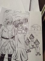 Santa Claus, mrs. Claus, and their elves by Falloutdaylenne
