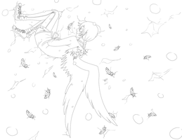 Angel in the Snow.:lineart:. by fliff