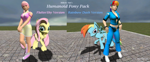Humanoid Pony pack: Fluttershy and Rainbow Dash by Noerusan