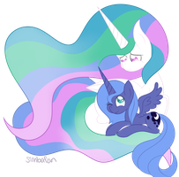Celestia and Luna by spottie-dots