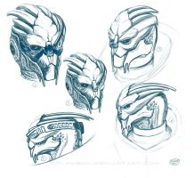 Garrus sketches by Dolmheon