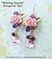 Shining Hearts earrings by littleorangetree