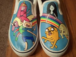 Custom Painted adventure time shoes for deathstryk by Miss-Melis