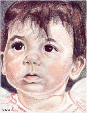 Colored Pencil drawing entitled 'Clara at 10 Months'