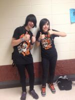 Me and friend Ash. We look the like bro and sister by DarkendDrummer