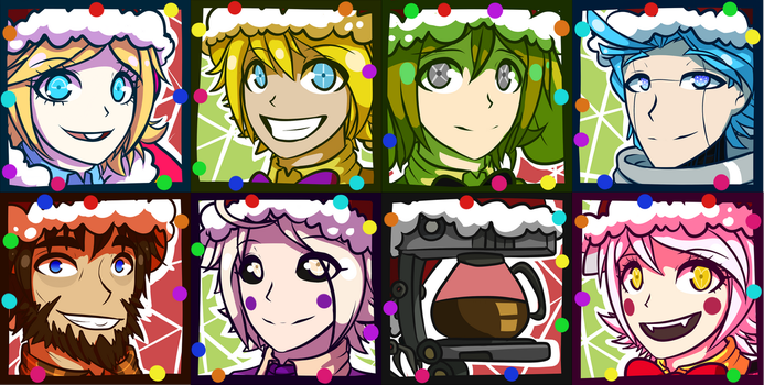 FNAF WORLD Christmas Icons by Wolf-con-f
