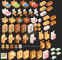 Cute Bear Bedroom Furniture Design For Mobile Game by Phorsalpin