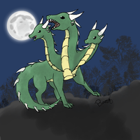 Dragon at the moonlight by Rosellaz