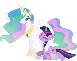 Celestia Pushes Twilight Aside by 90Sigma