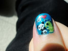 Dino and Panda nails 4 by MelodicInterval