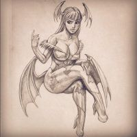 Morrigan pinup sketch commssion by Bourrouet