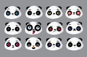 Panda faces by mjdaluz