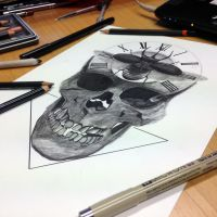 Skull in Progress by AtomiccircuS