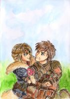 Hiccup and Astrid by MuArtGL