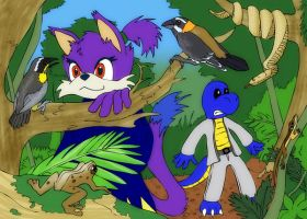 Vortex and Squeaky in jungle by PixelMecha