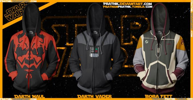Star Wars Hoodies! Maul/Vader/Fett by prathik