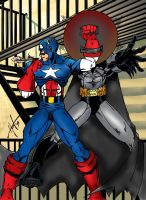 cap vs. batman COLORED by wjh1170