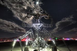 Scary Monster at Burning Man 2012 - night Playa by bluedogsd