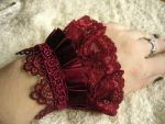 deep red lace cuffs by diwatox