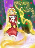 Secret Santa - Rapunzel and Mickey Merry Christmas by Checker-Bee