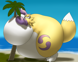 Tubby Tank  Renamon Grabbing Coconut by RickyDemont