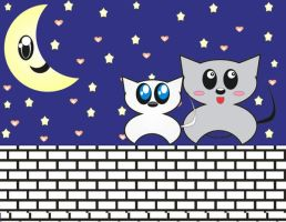 Two cats top of the wall by Angie-Lucena