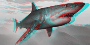 Jaws in 3D (red/cyan glasses required) by JohnMo