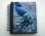 Polymer clay peacock journal or notebook by designsbyjo