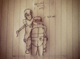 TMNT raph and emilie sketch by Lil-9