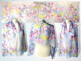 Silk scarf Magnolia Flowers - FOR SALE by MinkuLul