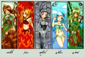 Chinese Elemental Bookmarks by Gezusfreek