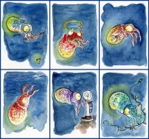 ACEO - Lightbulb Squids by LevyRasputin