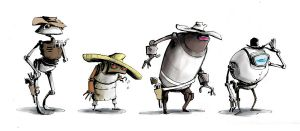 Robot Cowboys by whiteflyinglizard