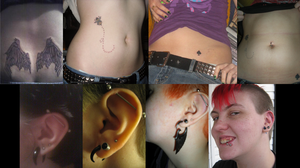My various tattoos and piercings... by flammingcorn