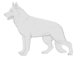 German Shepherd free line art by PrinzeBurnzo