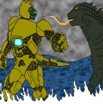 Pacific Rim Mongoose Versus Godzilla by cartercomics