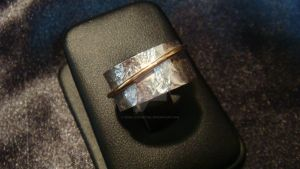 Silver and Gold texturized ring II by JewelleryAethel