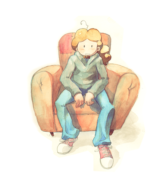 Sitting on the armchair by XDinky