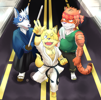 A Fox, a Wolf, and a Tiger.. by PencilTips