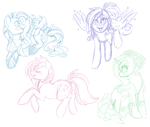 Ponyfriends sketchies! by Noxx-ious